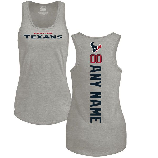 WoMen Houston Texans NFL Pro Line by Fanatics Branded Ash Personalized Backer Tri-Blend Tank Top T-Shirt