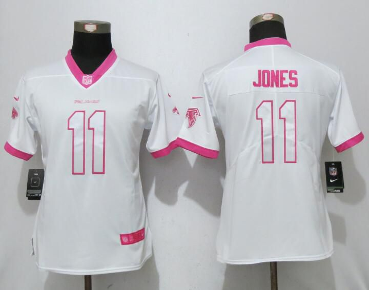 Women 2017 Atlanta Falcons 11 Jones Matthews White Pink Stitched New Nike Elite Rush Fashion NFL Jersey