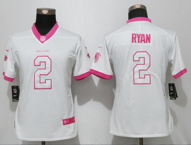 Women 2017 Atlanta Falcons 2 Ryan Matthews White Pink Stitched New Nike Elite Rush Fashion NFL Jersey