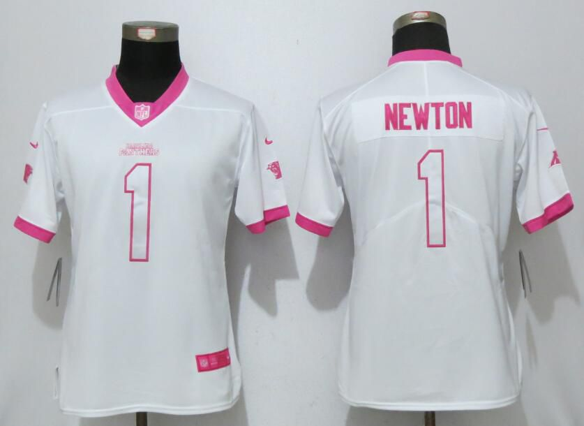 Women 2017 Carolina Panthers 1 Newton Matthews White Pink Stitched New Nike Elite Rush Fashion NFL Jersey