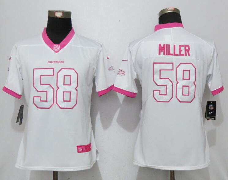 Women 2017 Denver Broncos 58 Miller Matthews White Pink Stitched New Nike Elite Rush Fashion NFL Jersey