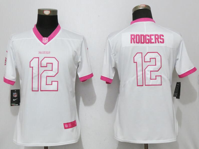Women 2017 Green Bay Packers 12 Rodgers Matthews White Pink Stitched New Nike Elite Rush Fashion NFL Jersey