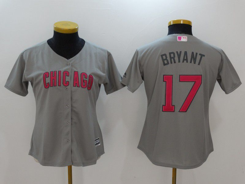 Women 2017 MLB Chicago Cubs 17 Bryant Grey Gold Program Jersey