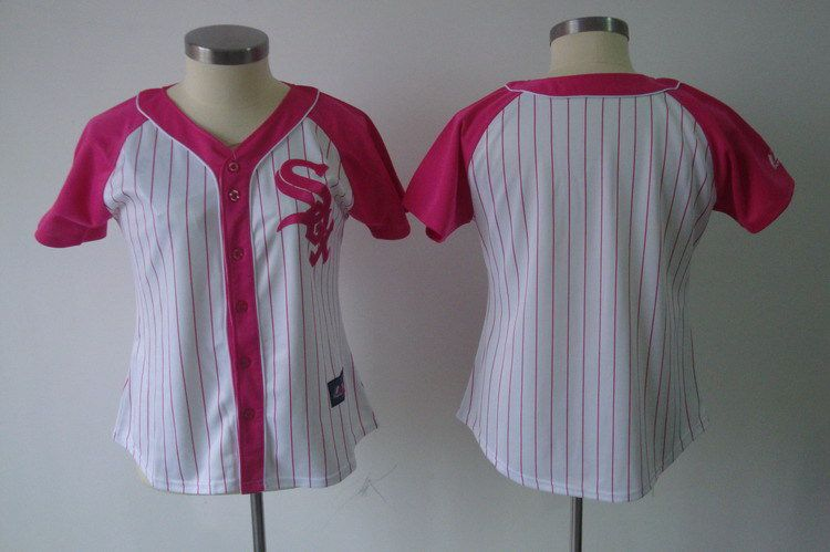 Women 2017 MLB Chicago White Sox Blank Pink Splash Fashion Jersey