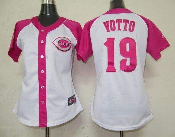 Women 2017 MLB Cincinnati Reds 19 Yotto Pink Splash Fashion Jersey