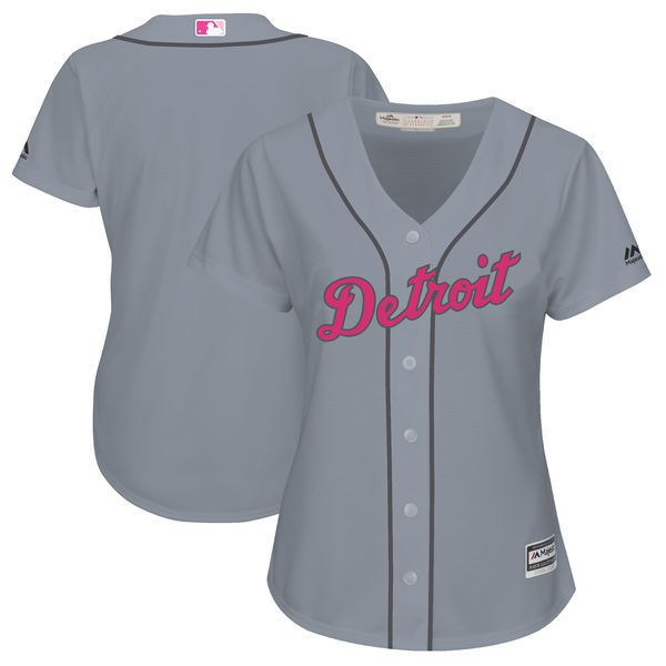 Women 2017 MLB Detroit Tigers Blank Grey Mothers Day Jerseys