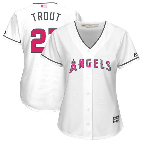 Women 2017 MLB Los Angeles Angels 27 Mike Trout White Mothers Day Jerseys