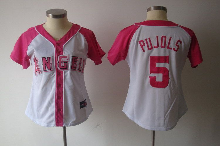 Women 2017 MLB Los Angeles Angels 5 Pujols Pink Splash Fashion Jersey
