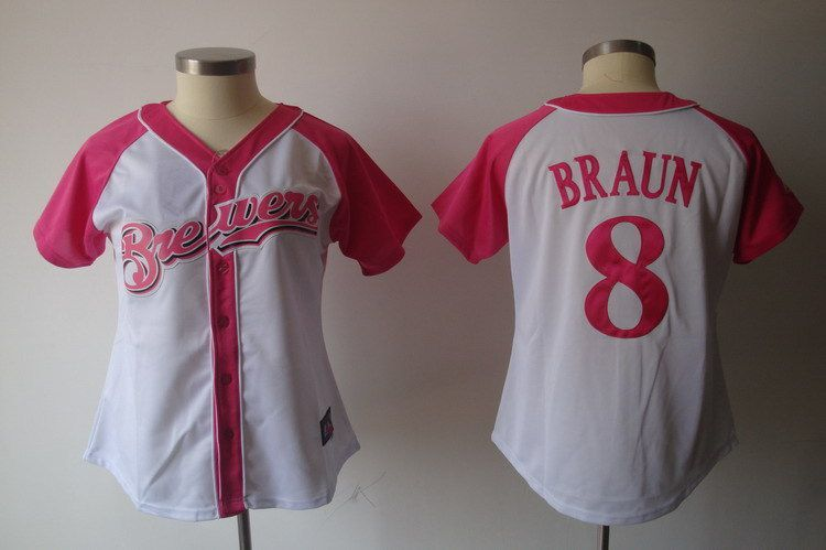 Women 2017 MLB Milwaukee Brewers 8 Braun Pink Splash Fashion Jersey
