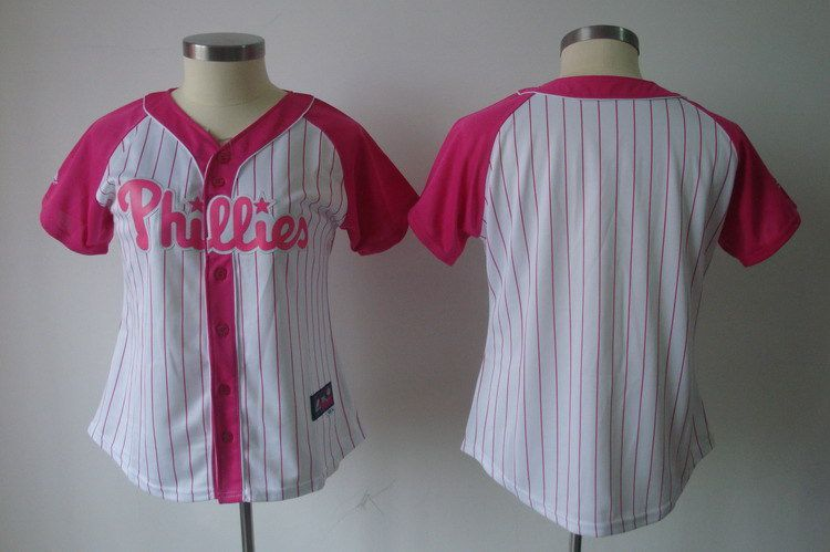 Women 2017 MLB Philadelphia Phillies Blank White Pink Splash Fashion Jersey