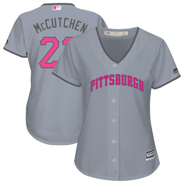 Women 2017 MLB Pittsburgh Pirates 22 Andrew McCutchen Grey Mothers Day Jerseys