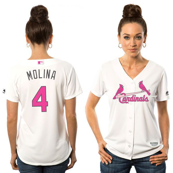 Women 2017 MLB St.Louis Cardinals 4 Yadier Molina White Mothers Day Jerseys