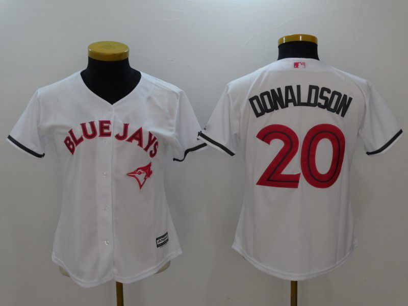 Women 2017 MLB Toronto Blue Jays 20 Donaldson White Jerseys