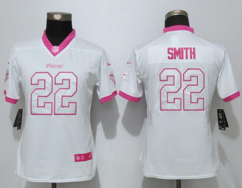 Women 2017 Minnesota Vikings 22 Smith Matthews White Pink Stitched New Nike Elite Rush Fashion NFL Jersey