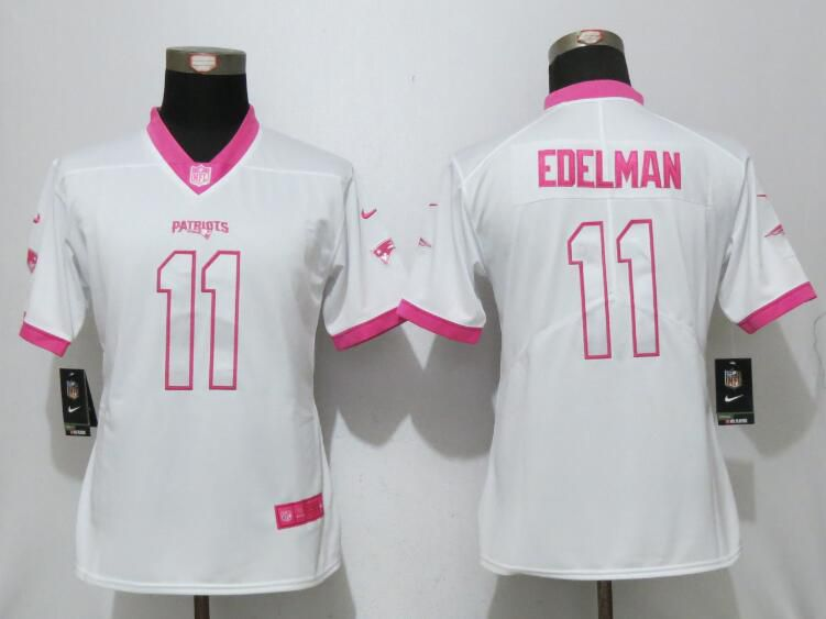 Women 2017 New England Patriots 11 Edelman Matthews White Pink Stitched New Nike Elite Rush Fashion NFL Jersey
