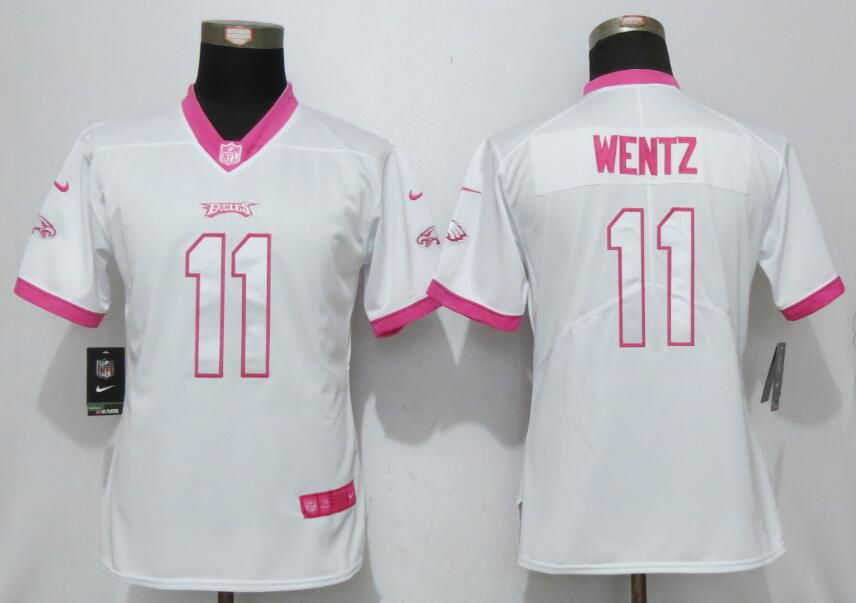 Women 2017 Philadelphia Eagles 11 Wentz Matthews White Pink Stitched New Nike Elite Rush Fashion NFL Jersey