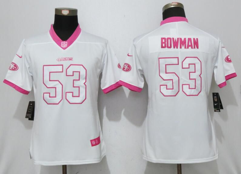 Women 2017 San Francisco 49ers 53 Bowman Matthews White Pink Stitched New Nike Elite Rush Fashion NFL Jersey