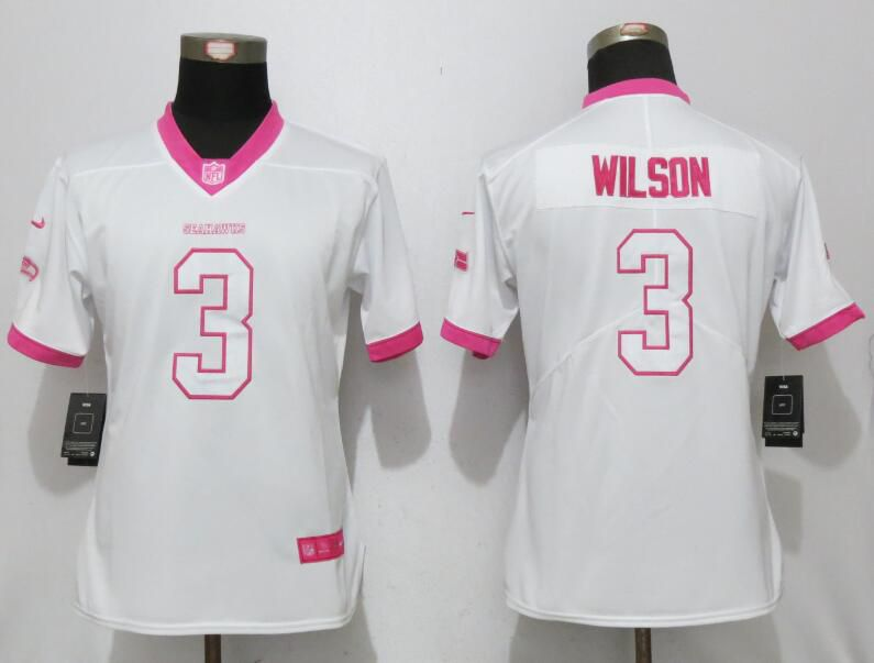 Women 2017 Seattle Seahawks 3 Wilson Matthews White Pink Stitched New Nike Elite Rush Fashion NFL Jersey