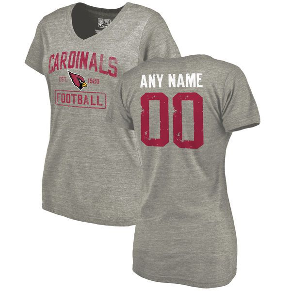 Women Arizona Cardinals NFL Distressed Custom Name and Number Tri-Blend V-Neck Heather Gray T-Shirt