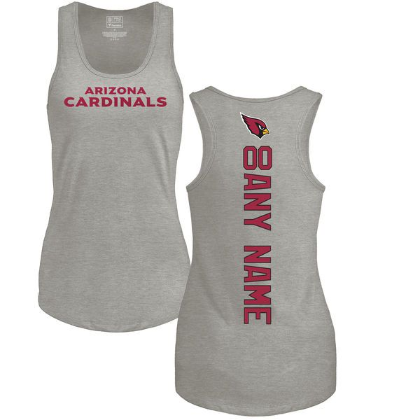 Women Arizona Cardinals NFL Pro Line by Fanatics Branded Ash Custom Backer Tri-Blend Tank Top T-Shirt