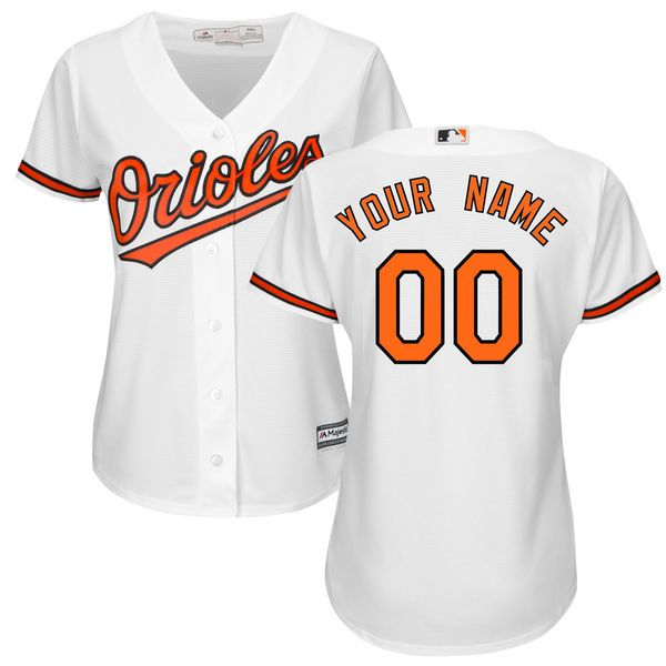 Women Baltimore Orioles Majestic White Home Cool Base Custom MLB Jersey