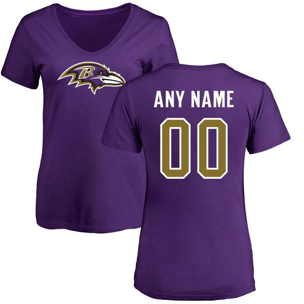 Women Baltimore Ravens NFL Pro Line Purple Any Name and Number Logo Custom Slim Fit T-Shirt