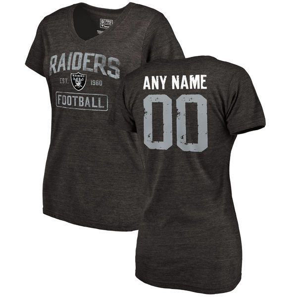 Women Black Oakland Raiders Distressed Custom Name and Number Tri-Blend V-Neck NFL T-Shirt