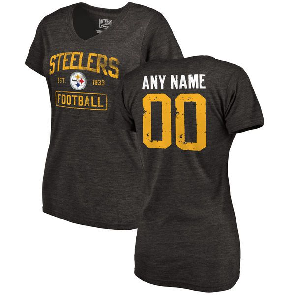 Women Black Pittsburgh Steelers Distressed Custom Name and Number Tri-Blend V-Neck NFL T-Shirt