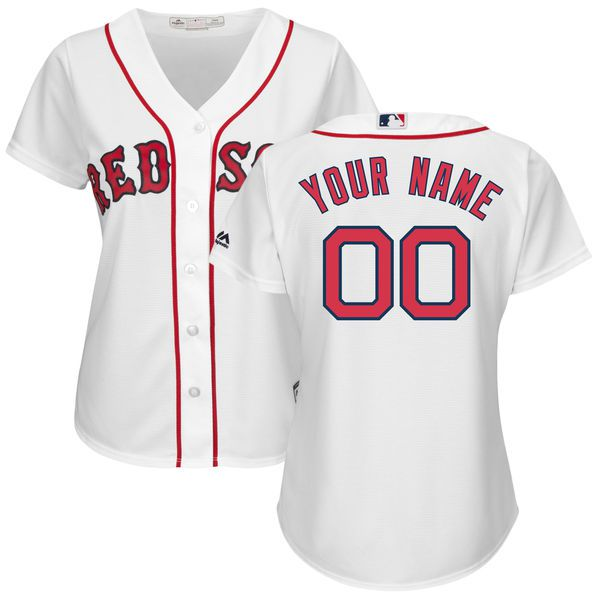 Women Boston Red Sox Majestic White Home Cool Base Custom MLB Jersey
