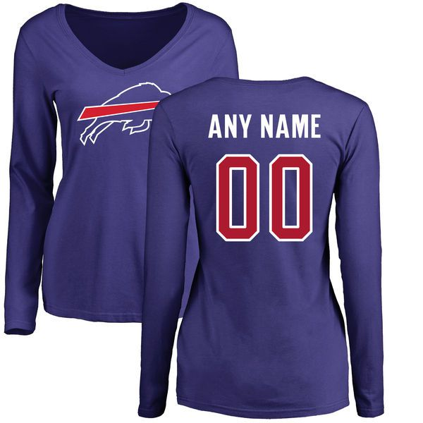 Women Buffalo Bills NFL Pro Line by Fanatics Branded Royal Custom Name and Number Long Sleeve T-Shirt