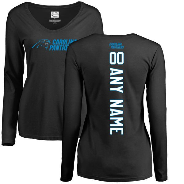 Women Carolina Panthers NFL Pro Line Black Custom Backer Slim Fit Long Sleeve T-Shirt