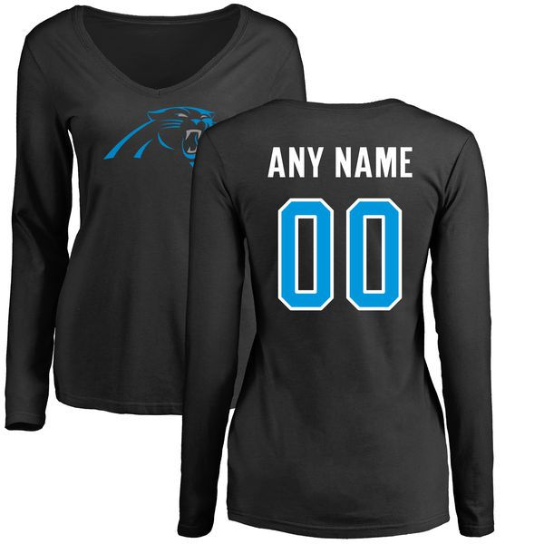 Women Carolina Panthers NFL Pro Line Black Custom Name and Number Logo Slim Fit Long Sleeve T-Shirt