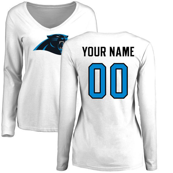 Women Carolina Panthers NFL Pro Line White Custom Name and Number Logo Slim Fit Long Sleeve T-Shirt