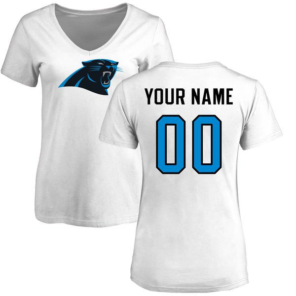 Women Carolina Panthers NFL Pro Line White Custom Name and Number Logo Slim Fit T-Shirt