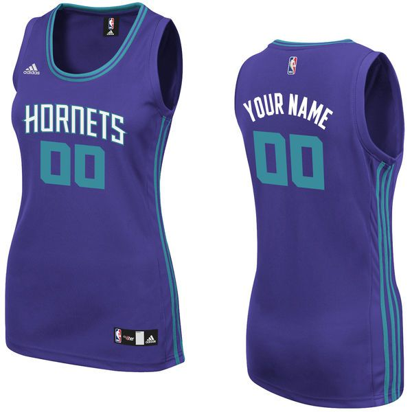 Women Charlotte Hornets Adidas Purple Custom Replica Road NBA Jersey