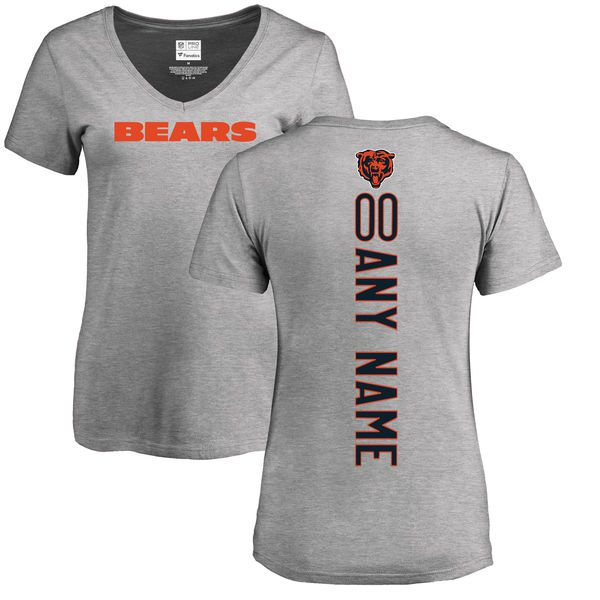 Women Chicago Bears NFL Pro Line Ash Custom Backer V-Neck T-Shirt