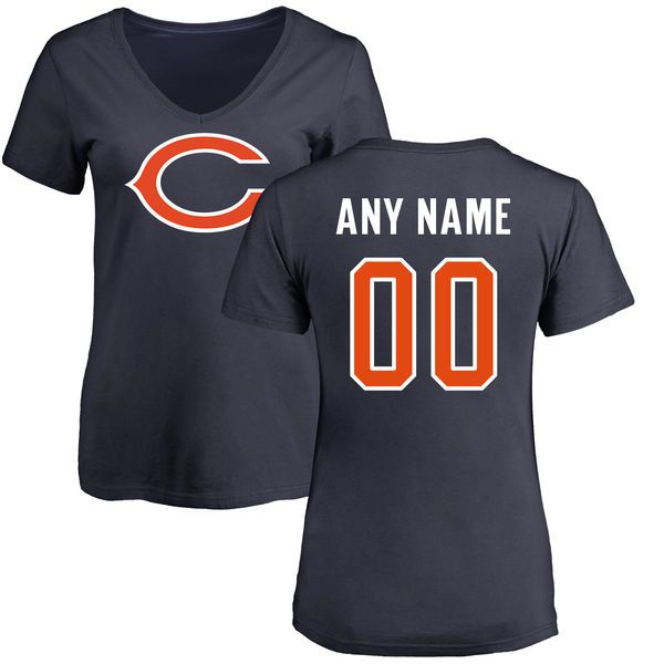 Women Chicago Bears NFL Pro Line Navy Any Name and Number Logo Custom Slim Fit T-Shirt