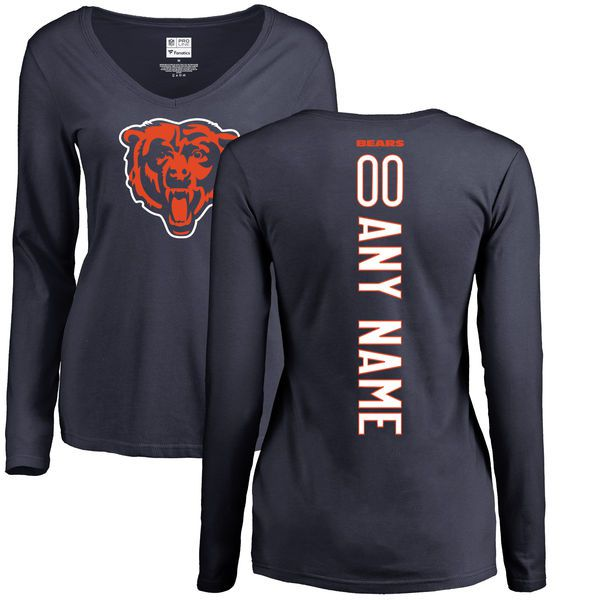 Women Chicago Bears NFL Pro Line Navy Custom Backer Slim Fit Long Sleeve T-Shirt