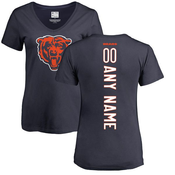 Women Chicago Bears NFL Pro Line Navy Custom Backer Slim Fit T-Shirt