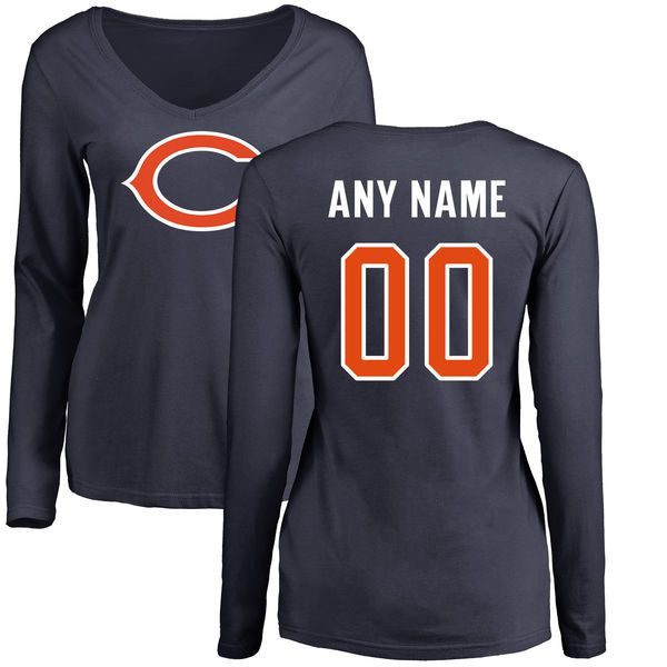 Women Chicago Bears NFL Pro Line Navy Custom Name and Number Logo Slim Fit Long Sleeve T-Shirt