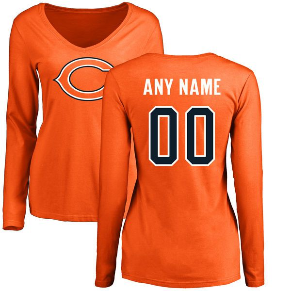 Women Chicago Bears NFL Pro Line Orange Custom Name and Number Logo Slim Fit Long Sleeve T-Shirt