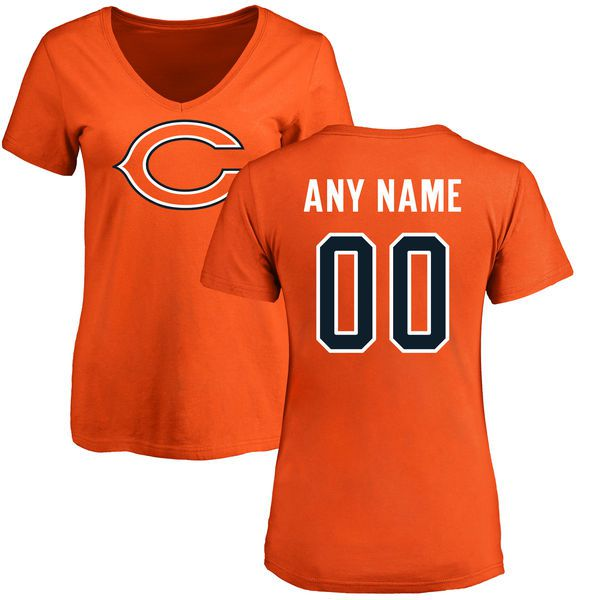 Women Chicago Bears NFL Pro Line Orange Custom Name and Number Logo Slim Fit T-Shirt