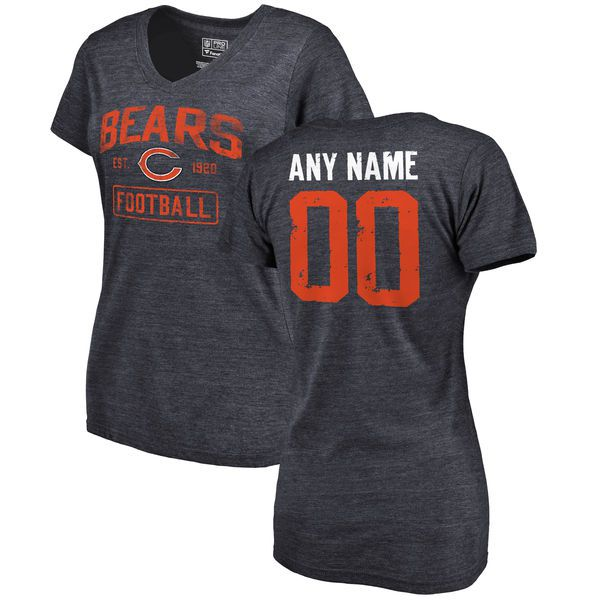 Women Chicago Bears Navy Distressed Custom Name and Number Tri-Blend V-Neck NFL T-Shirt