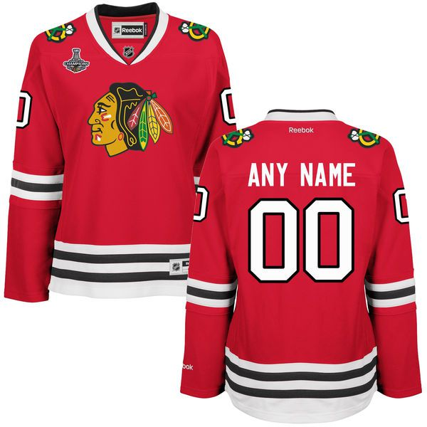 Women Chicago Blackhawks Reebok Red 2015 Stanley Cup Champions Premier Custom NHL Jersey
