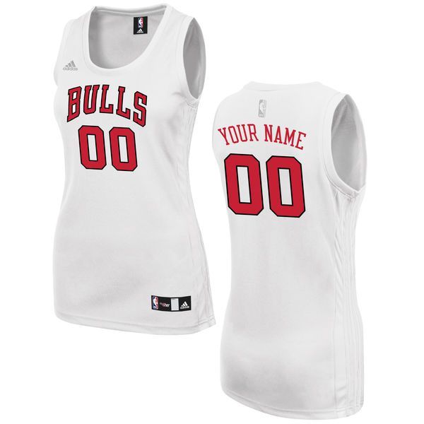 Women Chicago Bulls Adidas White Custom Fashion NBA Jersey