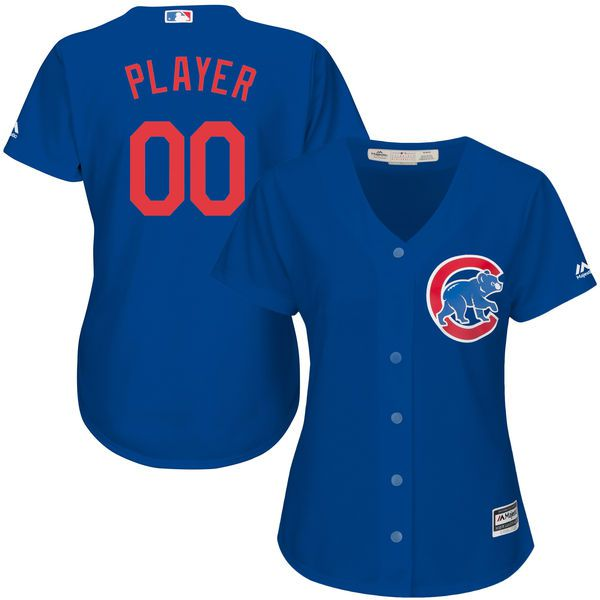 Women Chicago Cubs Majestic Royal Blue Alternate Cool Base Custom MLB Jersey