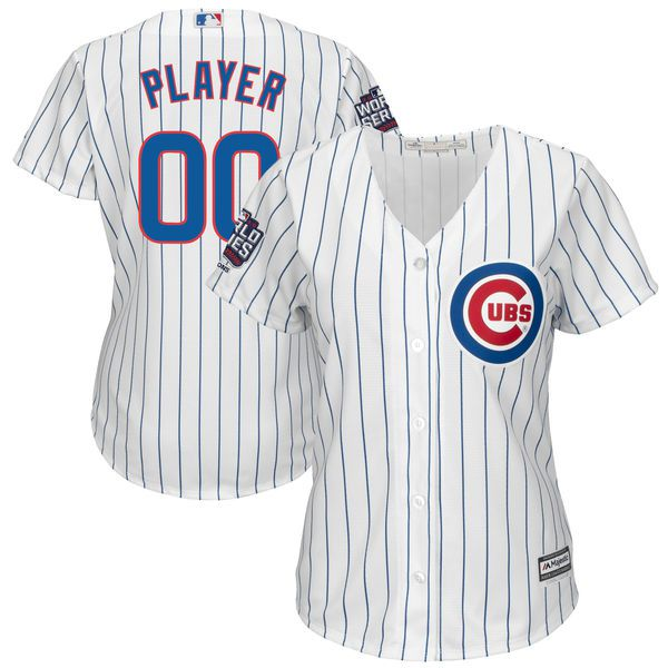 Women Chicago Cubs Majestic White 2016 World Series Champions Custom Home Cool Base MLB Jersey