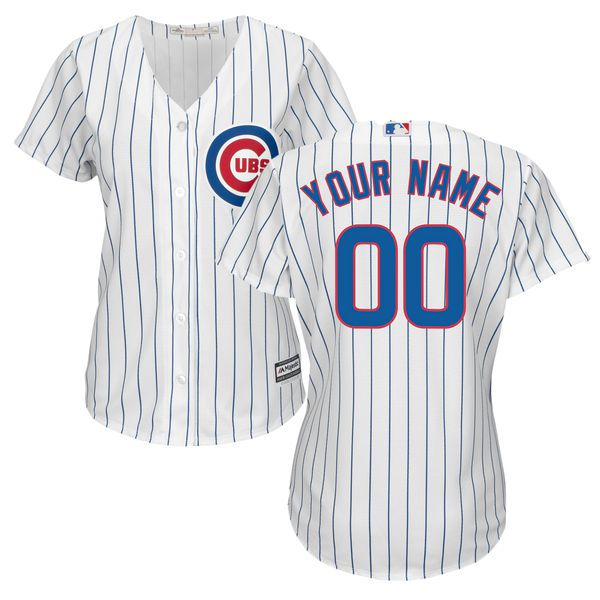 Women Chicago Cubs Majestic White Home Cool Base Custom MLB Jersey