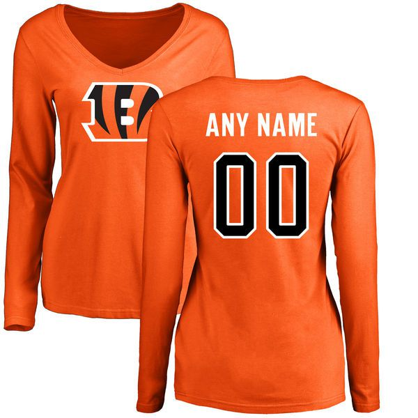 Women Cincinnati Bengals NFL Pro Line Orange Custom Name and Number Logo Slim Fit Long Sleeve T-Shirt