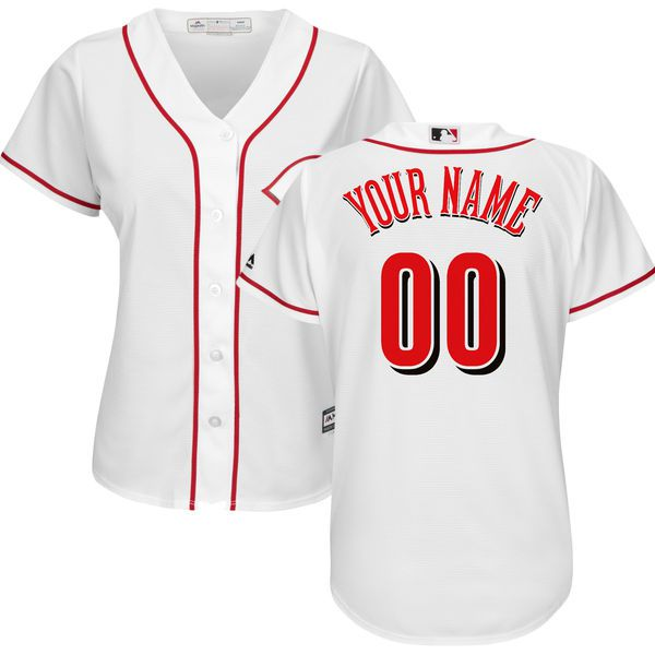 Women Cincinnati Reds Majestic White Home Cool Base Custom MLB Jersey